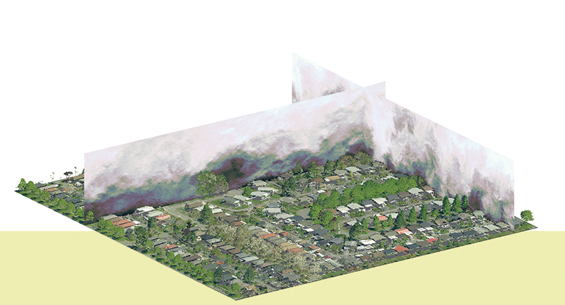 This computer model of Vancouver's Sunset neighbourhood, which uses pseudocolor on vertical planes for visualizing instantaneous wind speed,  helped scientists at UBC determine that each tree plays a role in improving quality of life and reducing energy costs in urban environments. supplied