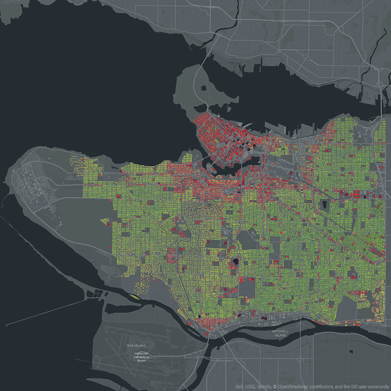 A Vancouver energy intensity map, created by a team from UBC, shows simulated building energy demand ranging from low (green) to high (dark red). Energy simulations based on current conditions can provide the starting point for simulating multiple potential energy and emissions futures. supplied
