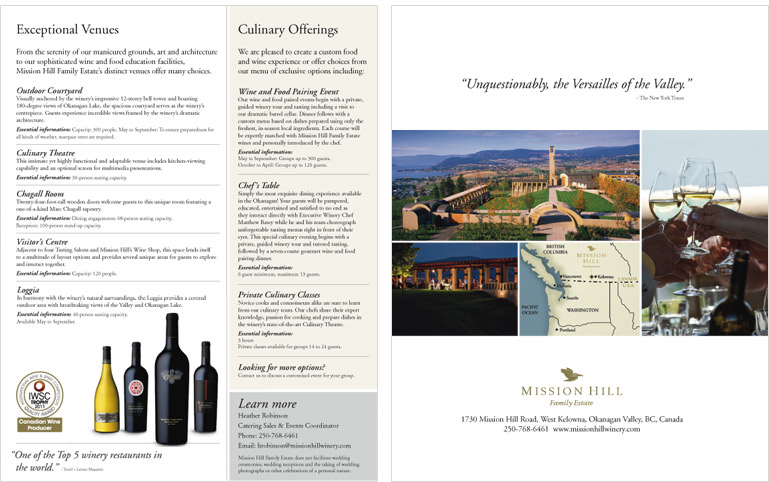 Mission Hill Family Estate Winery brochure