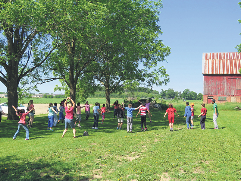 School group tours of the Diabetes Management & Education Centre at the Banting Homestead Heritage Park in Alliston, Ontario, begin with 15 to 20 minutes of exercise to emphasize the importance of physical activity to reduce the risk of type 2 diabetes. Sir Frederick Banting Legacy Foundation