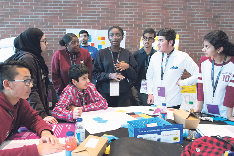 A group of students participating in one of the youth summits. supplied