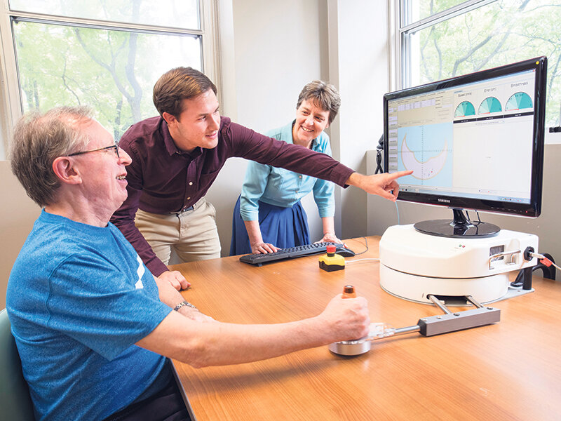 An AGE-WELL-supported team is developing a robotic device that uses artificial intelligence to help stroke survivors rebuild upper-body strength. For use in the community or people's homes, it's one of almost 100 AGE-WELL products in development or on the market.  John Hryniuk