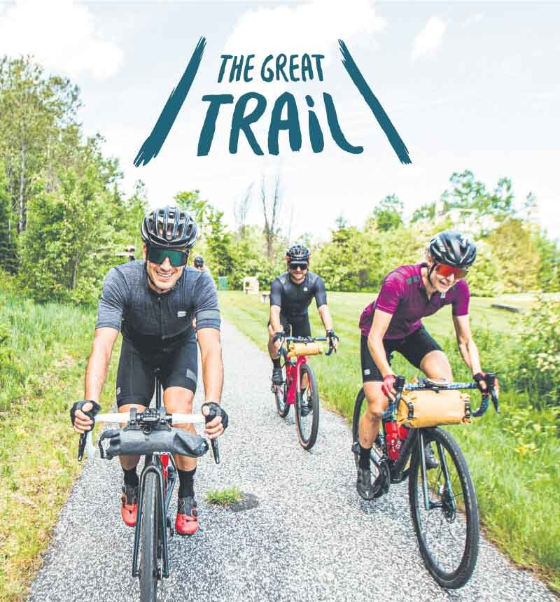 Cyclo-cross champion Maghalie Rochette rides the P'tit Train du Nord outside Montreal, Quebec, with friends.  ZACHARIE TURGEON