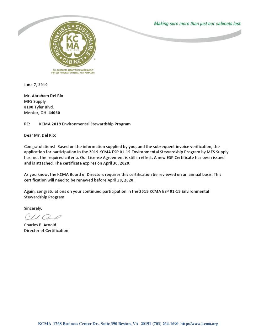 MFS Supply 2019 ESP Cert Letter.png