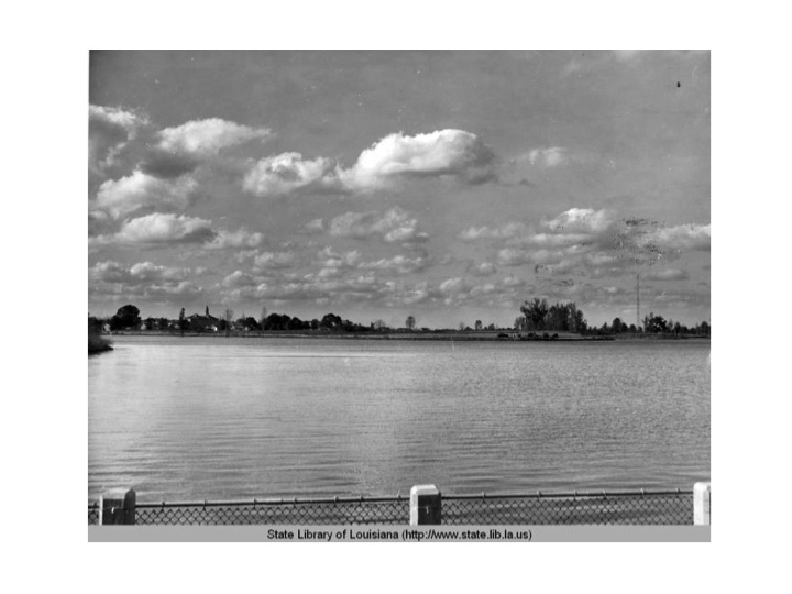 University Lake is completed and filled in 1937. City Park Lake was dug out in an earlier decade.