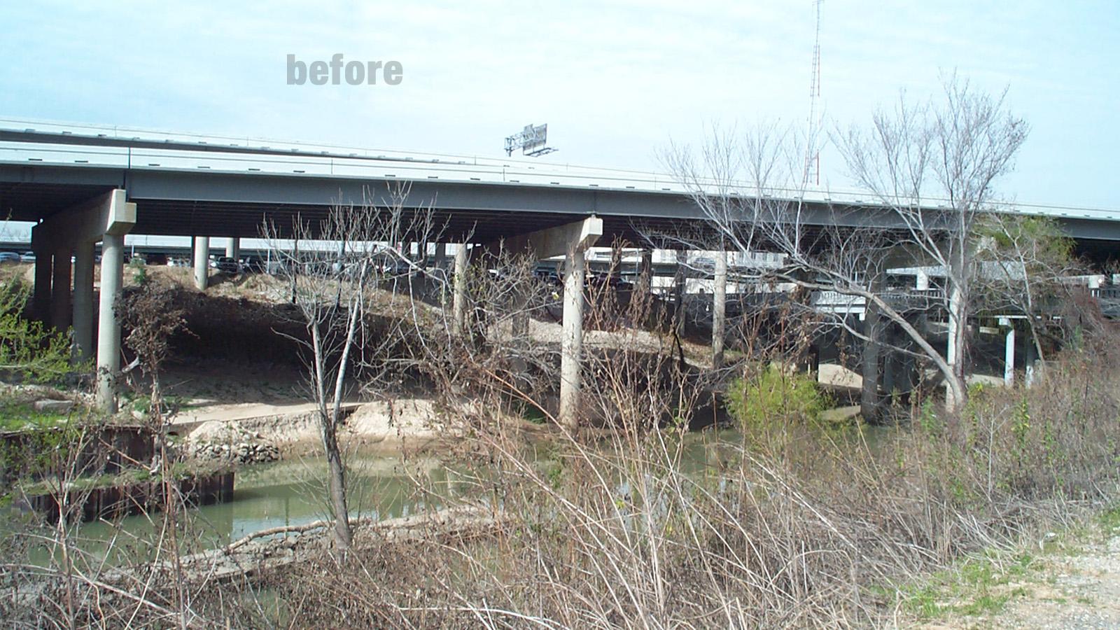 Buffalo Bayou Promenade - before improvements