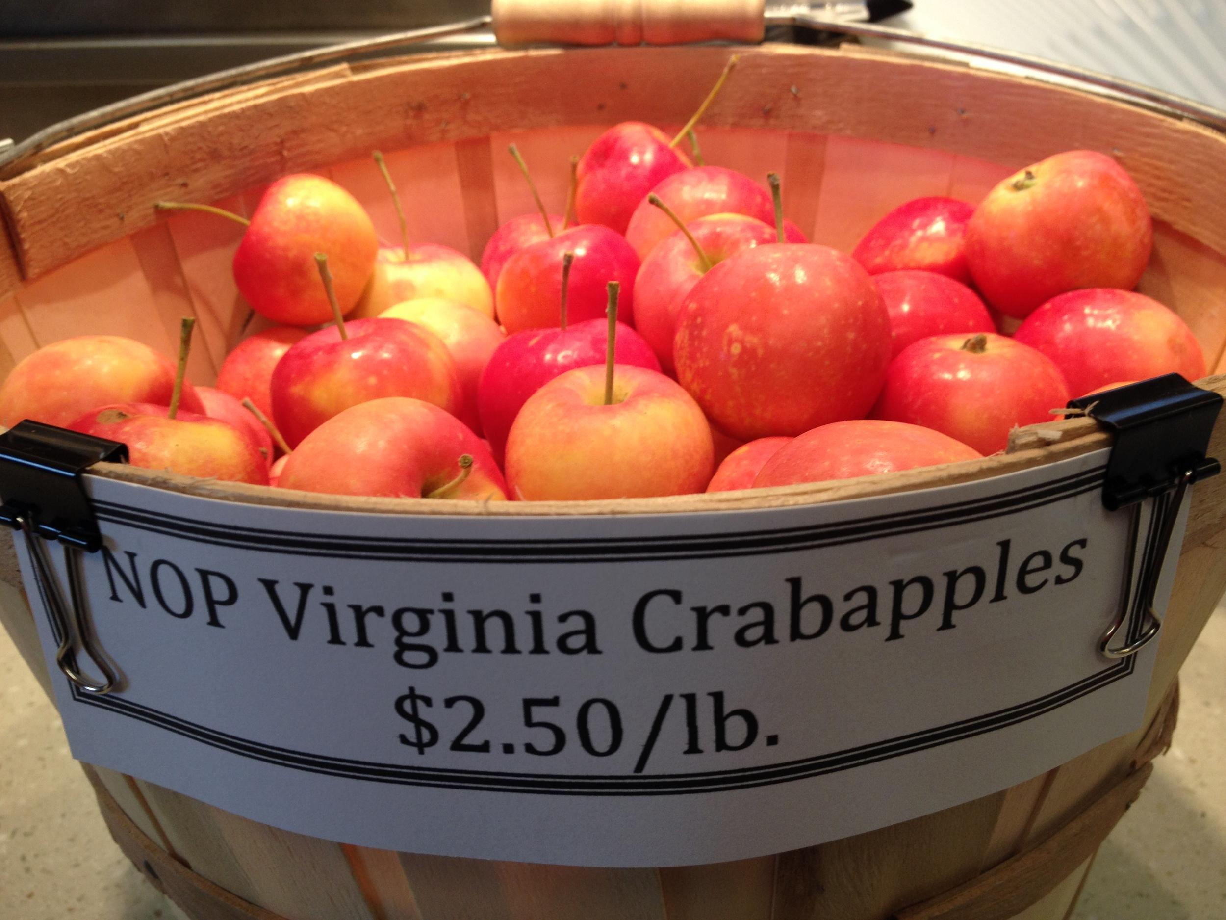 Virginia Crab Apples Grown According to National Organic Protocol (NOP)