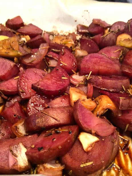 Roasted Maple Balsamic Potatoes, Onions & Garlic