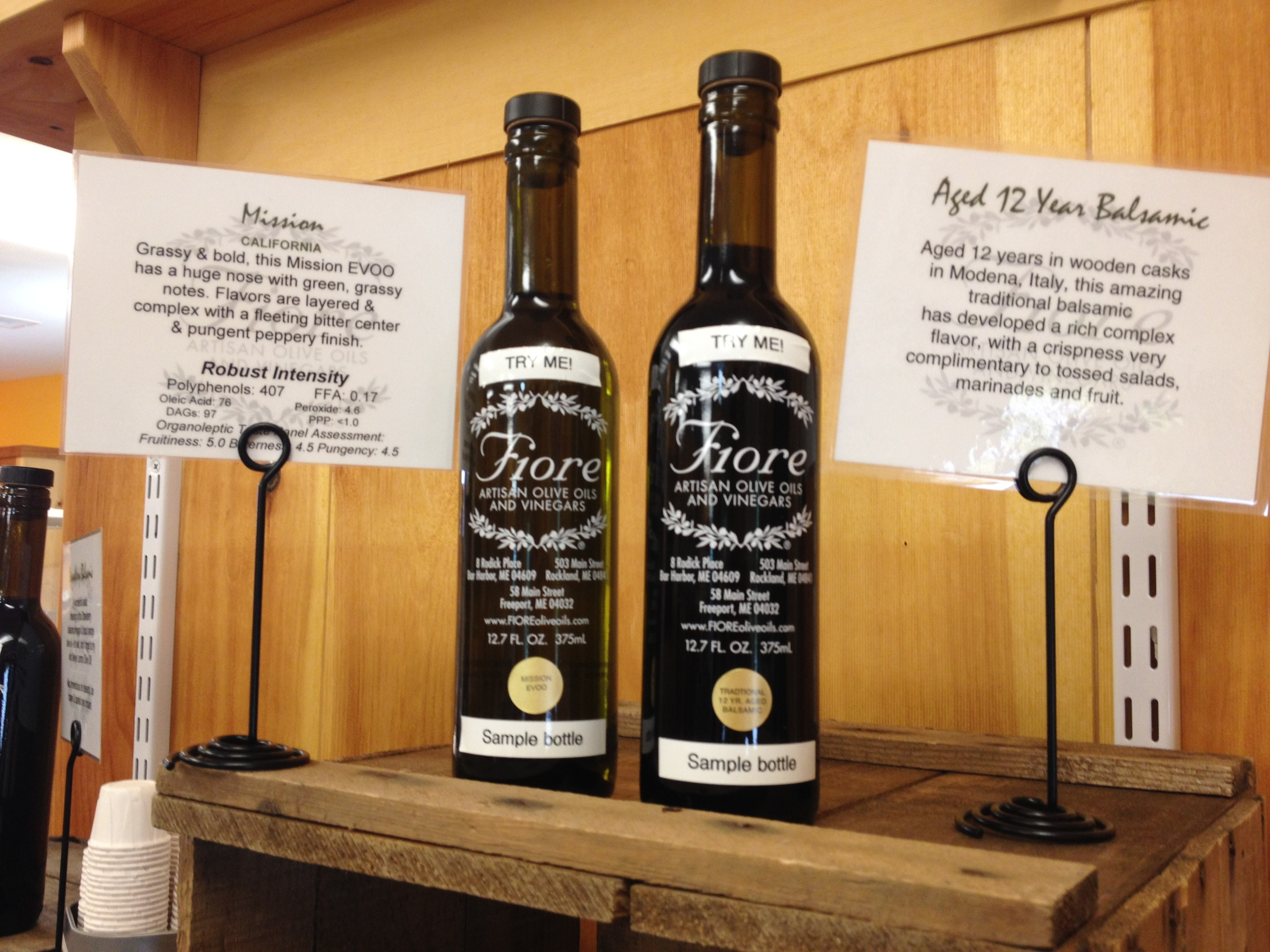 Sample Bottles Of Fiore EVVO & Vinegar