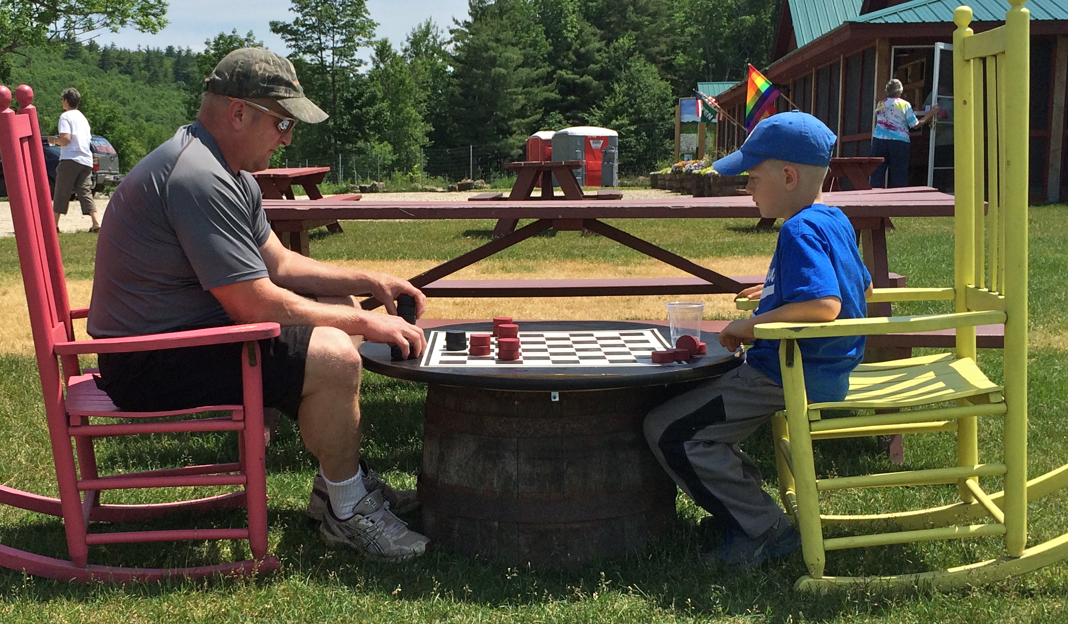 Enjoy an Outdoor Game of Checkers
