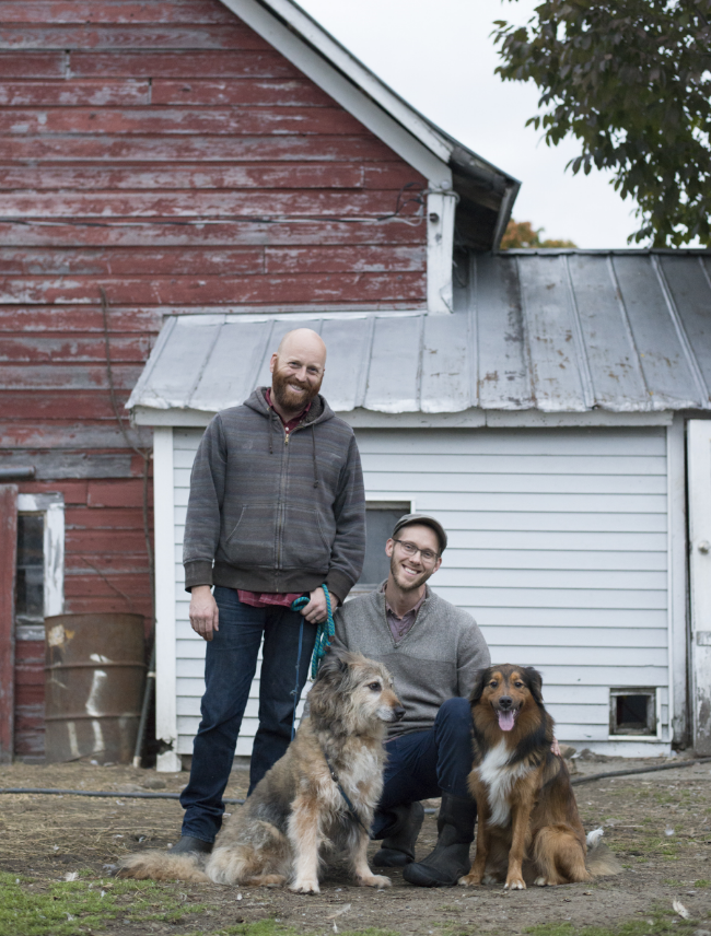 From left to right: Bailey, Wally, Thomas, and Chester in the barnyard - Shot by Alissa Hessler of  Urban Exodus