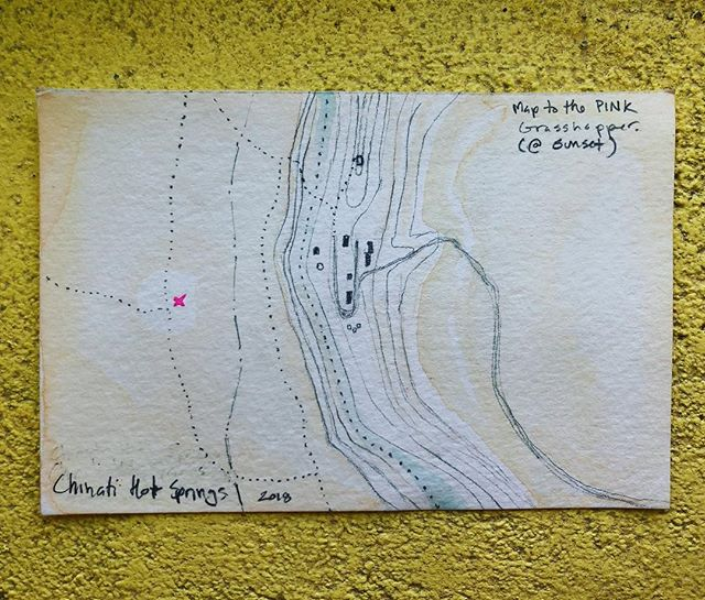 Map to the pink grasshopper. Best executed at sunset. #handdrawnmaps