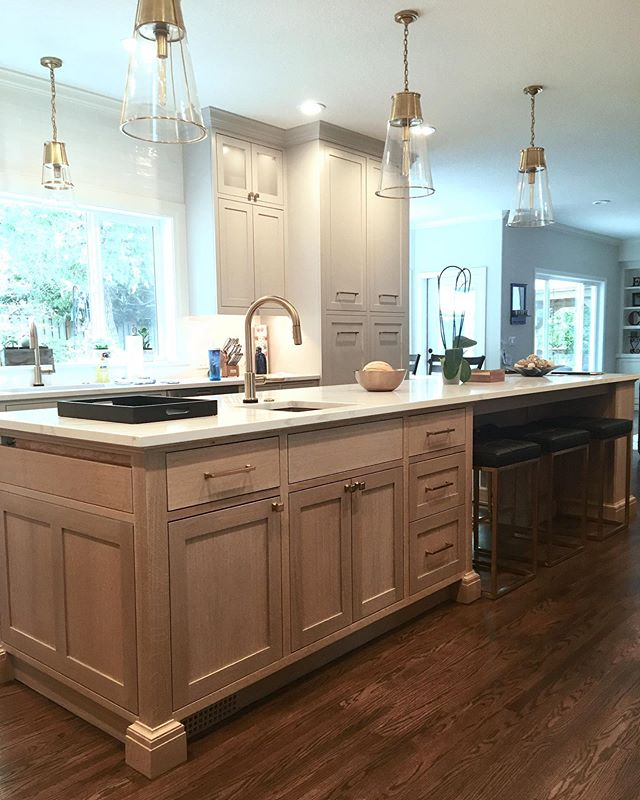 There's plenty of room  for breakfast on this 12 foot long quarter sawn white oak kitchen island we made.