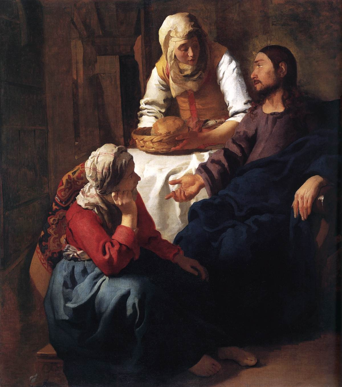 johannes vermeer,  christ in the house of martha and mary , 1654