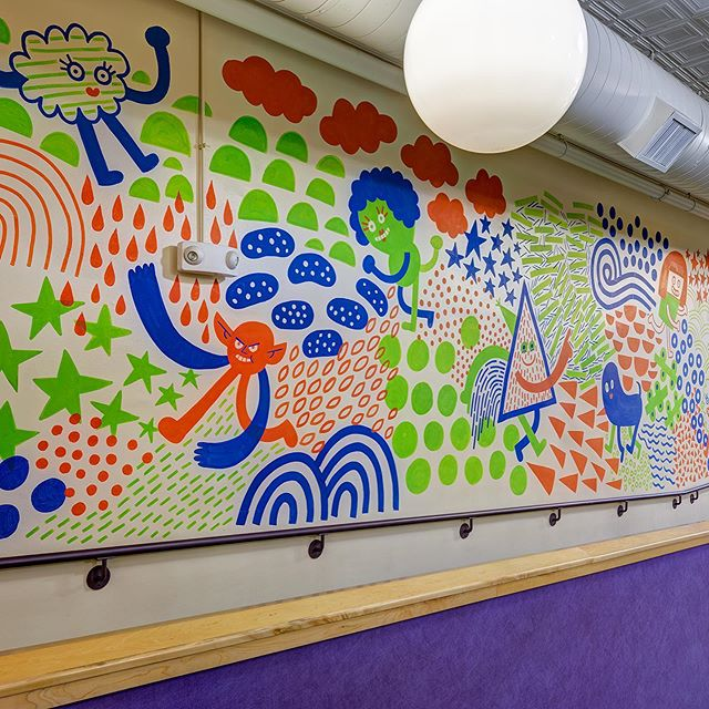 This mural by @andyjpizza is at @kidscommons. CMAD supported this project with @artsincolumbus and the @inartscomm in 2013 #artincolumbus #columbusindiana