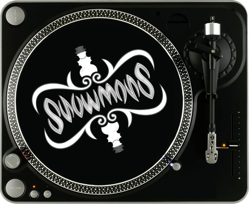 Snowmass   This turntable design is symmetrical down the middle. Any way you look, it should read SNOWMASS. The N and the S, the O and the A, the M and the W, are all interchangeable. The design was sketched out first then transferred to Illustrator. Find music   here  .