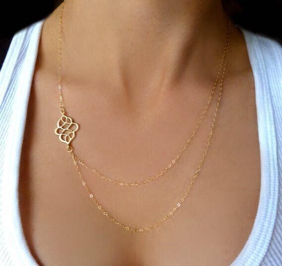 2015-simple-Gold-chain-Necklace-round-brads-pendant-Delicat-mutilayer-layer-arrow-design-pendant-charm-necklace.jpg