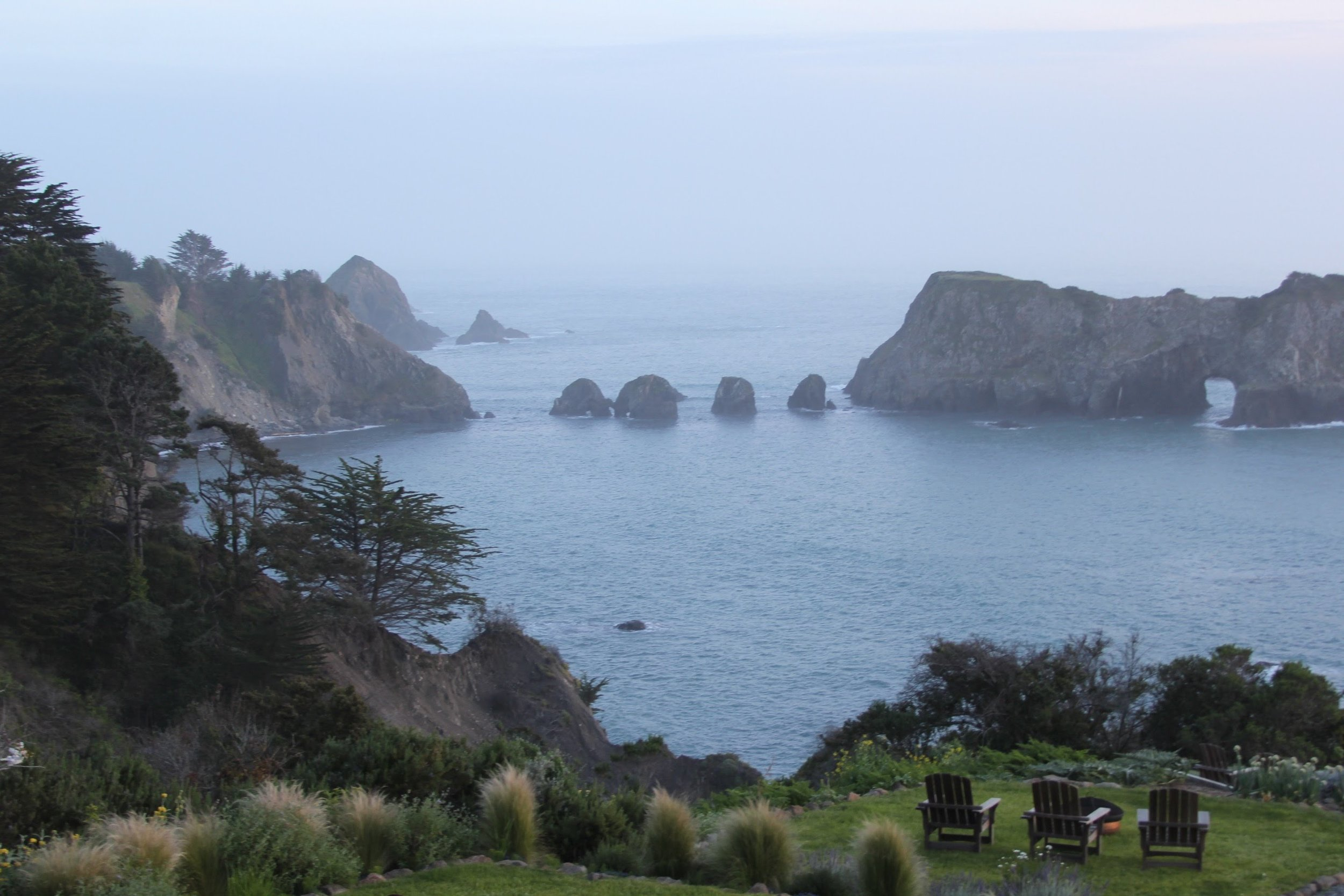 The view of the coast from The Harbor House Inn deck.