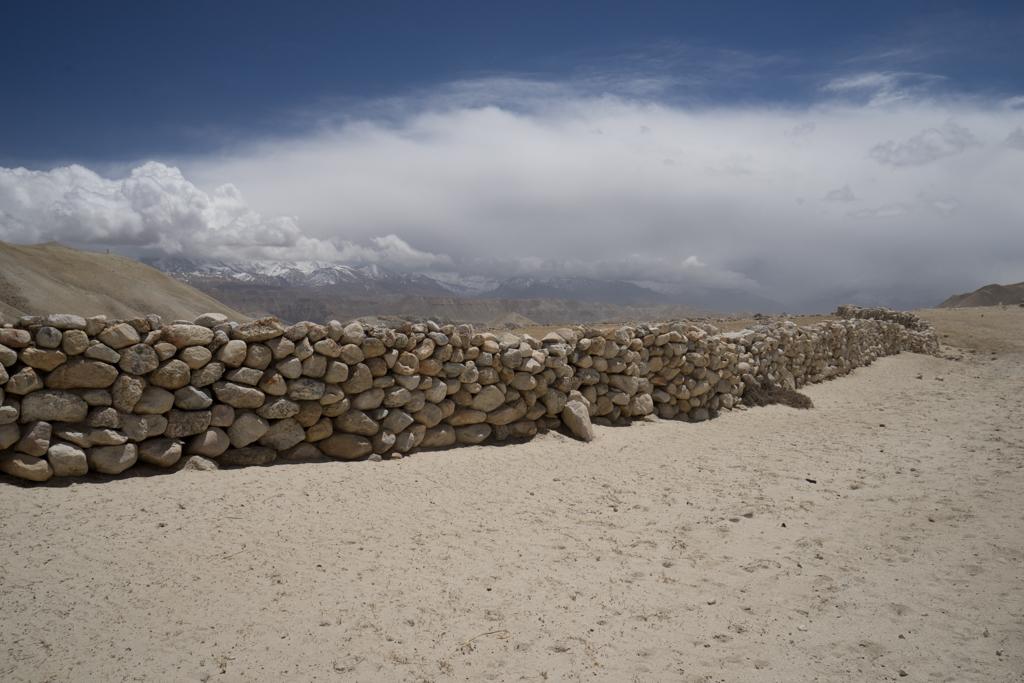 Path along a stone wall
