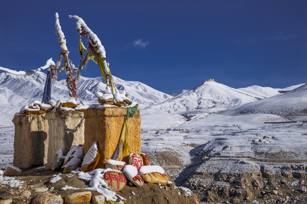 Prayer stones and chorten in Lo Manthang