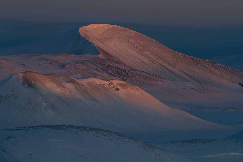 Sunrise with concave mountain