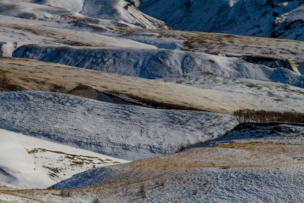 Layers of plains in winter