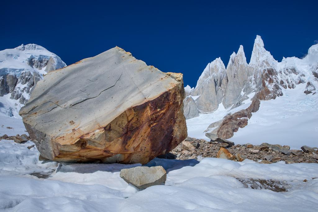 Huge stone below Cerro Torre (3102m)