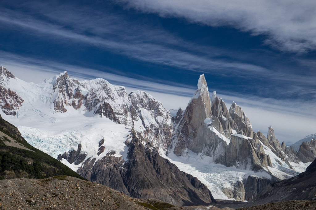 Cerro Torre surrounded by clouds