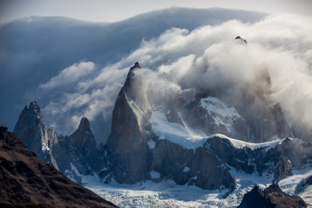 Cerro Fitzroy encircled by clouds