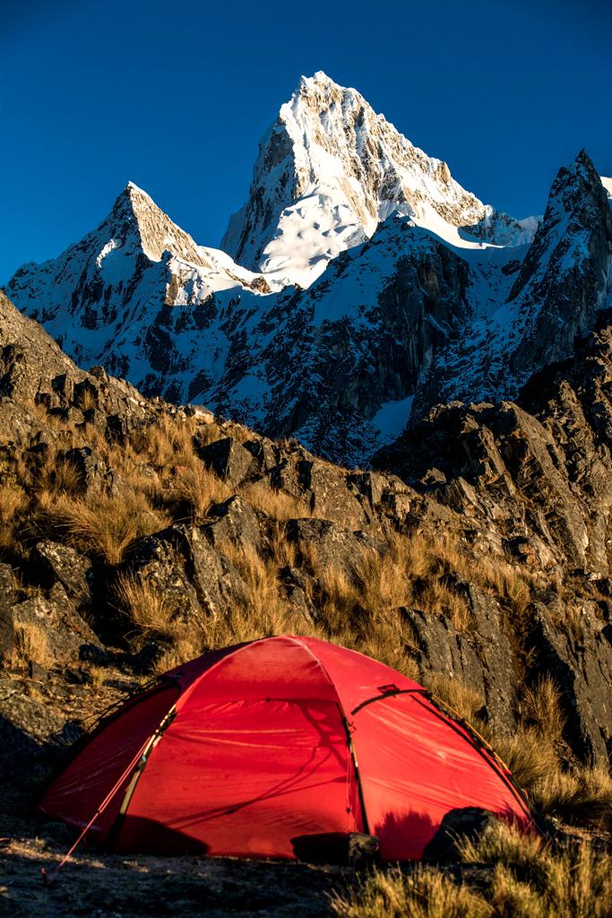 Tent with Taulliraju (5830m)