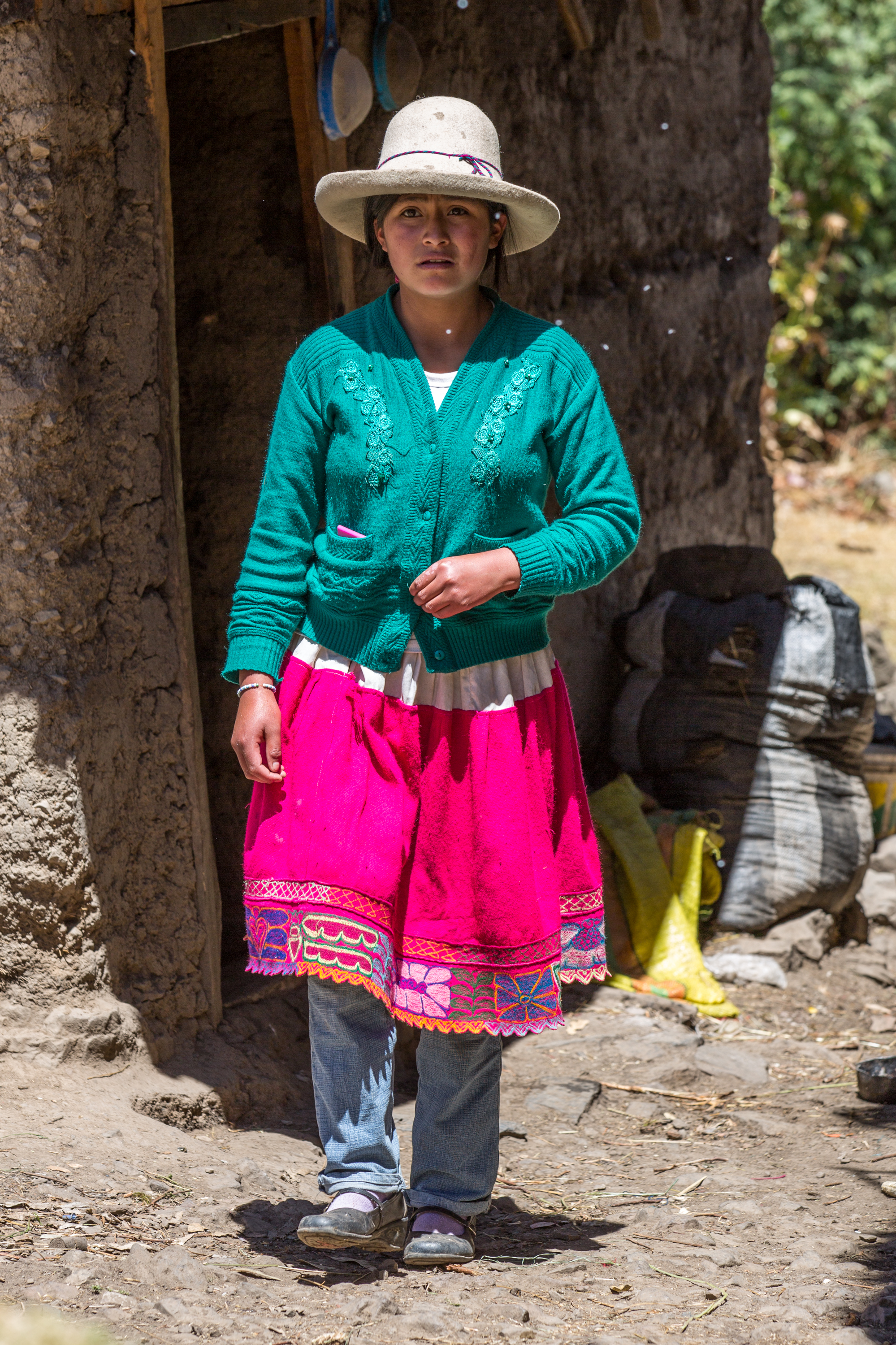 Colourful woman in the mountains of Peru