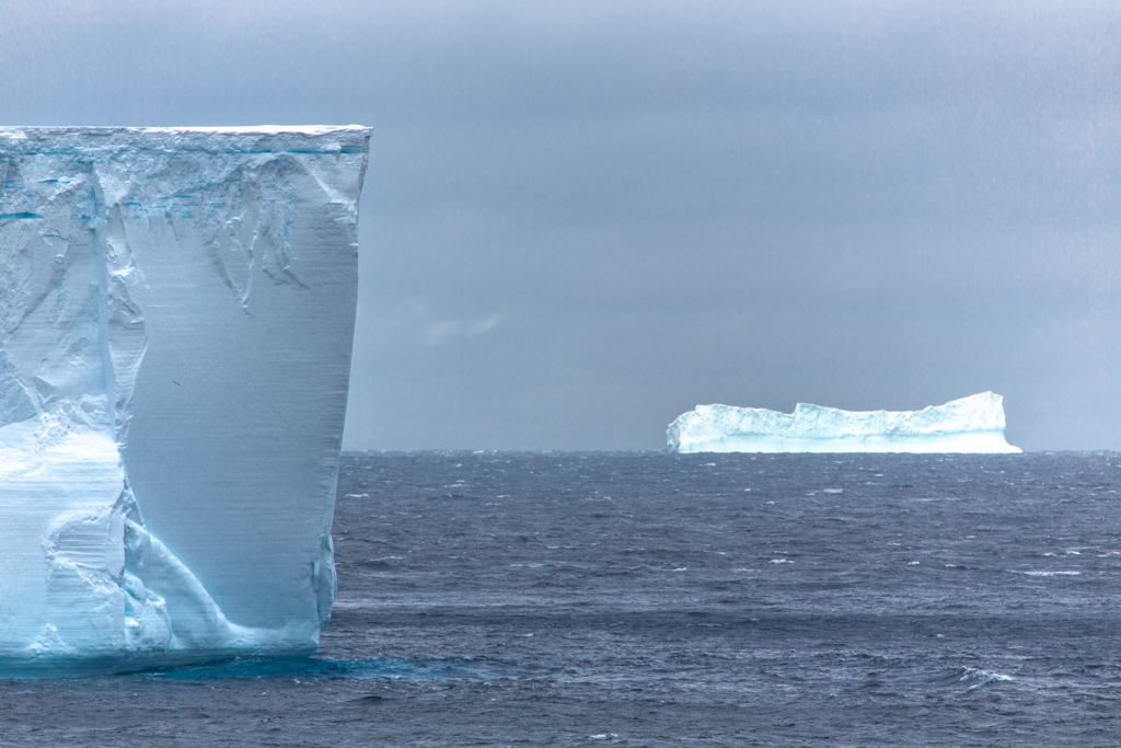 Huge blue icebergs