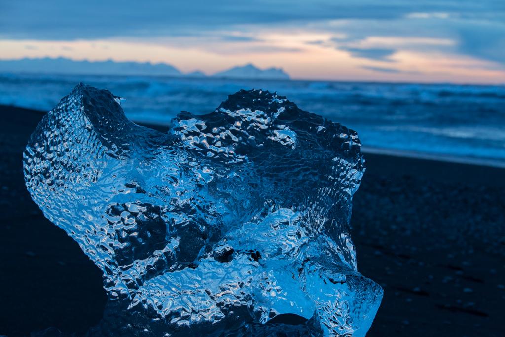 Crystall iceblock on sand