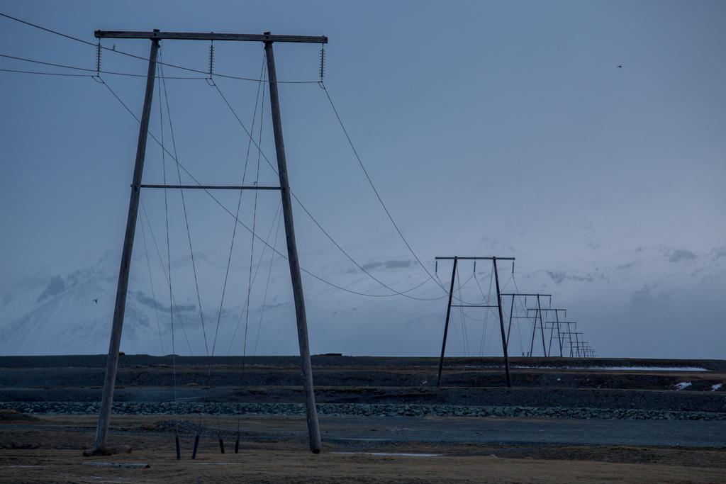 Poles close to Jökulsarlon