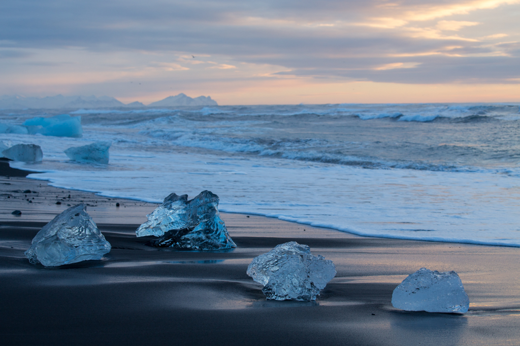 Iceblocks in early sunlight