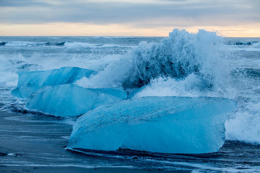 Huge ice block with splash