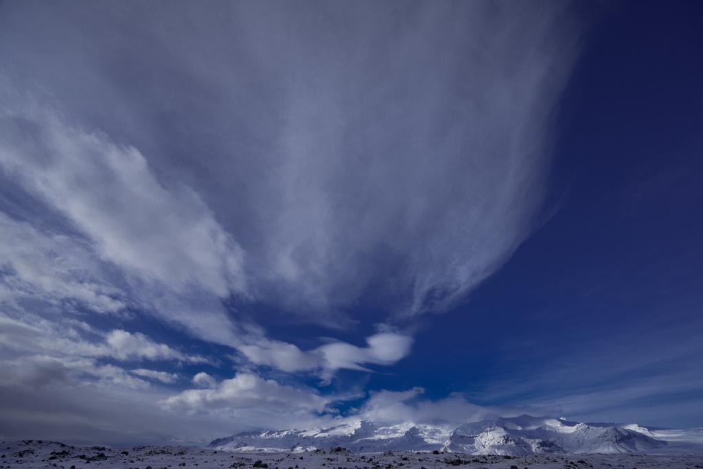Beautiful sky and clouds above Jökulsarlon