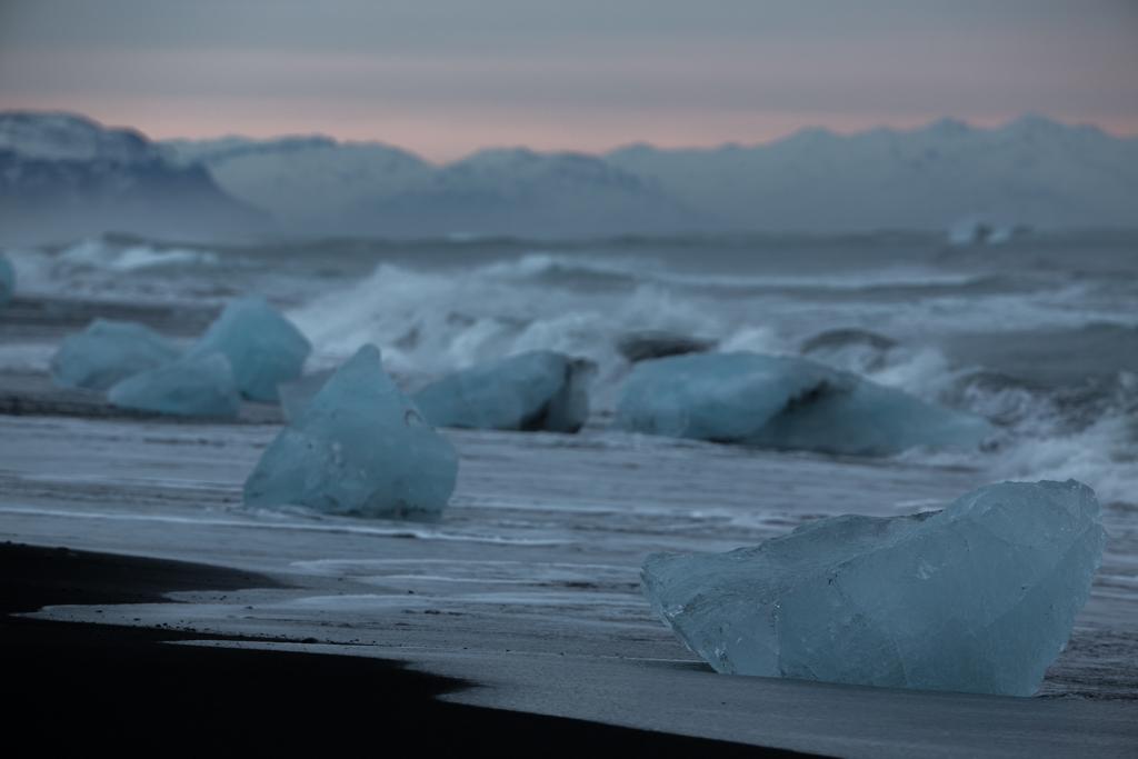 Ice blocks on the beach