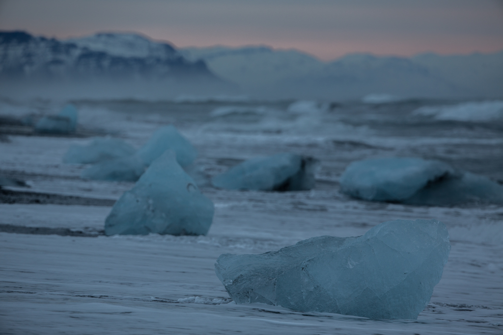 Ice formations on the beach