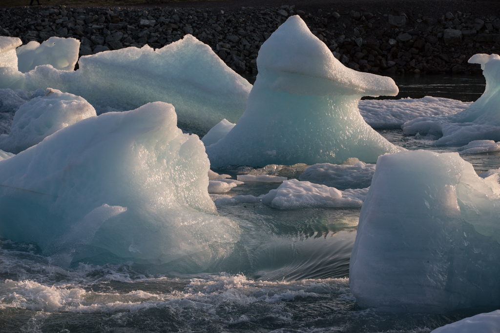 Ice blocks in moving water