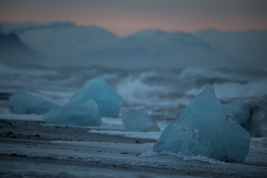 Blue icebergs in the morning sun