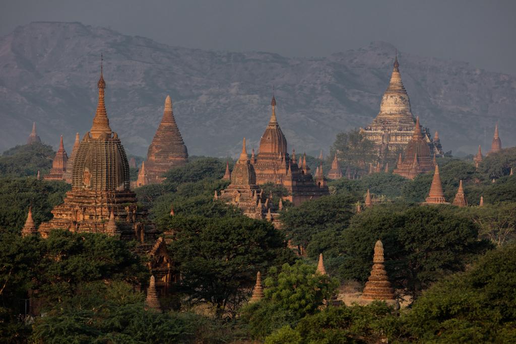 Illuminated temples in Bagan