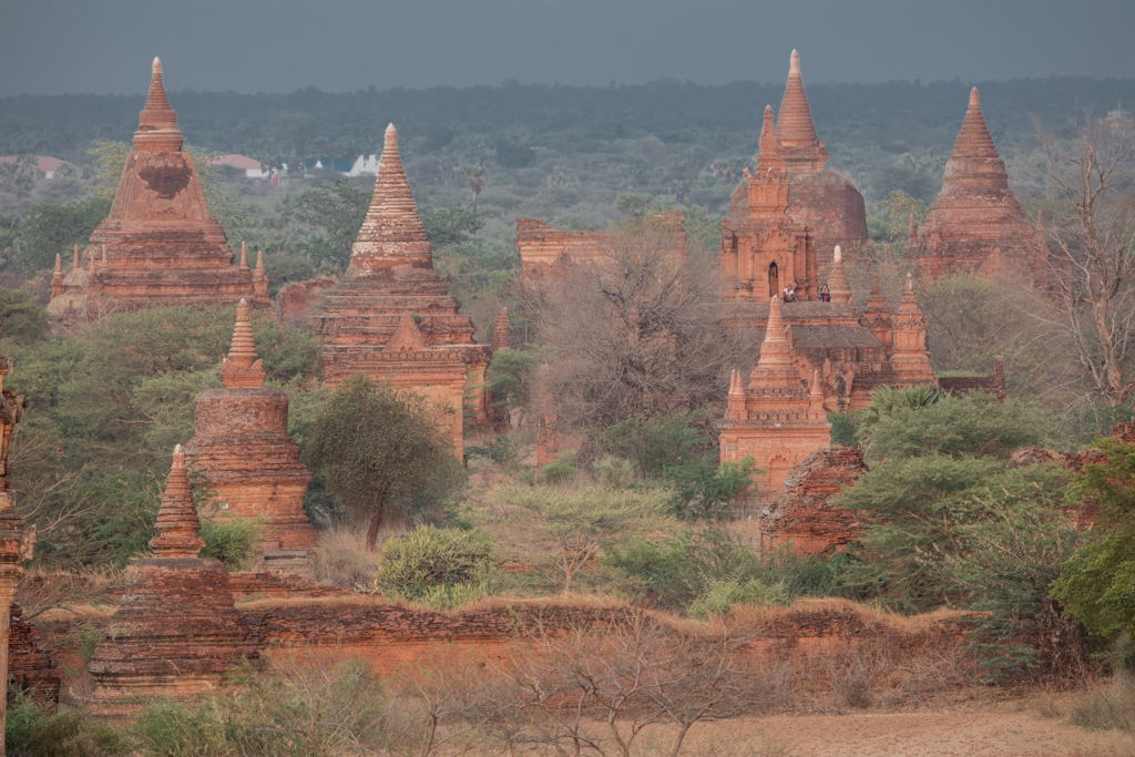 Illuminated temples close before sunset