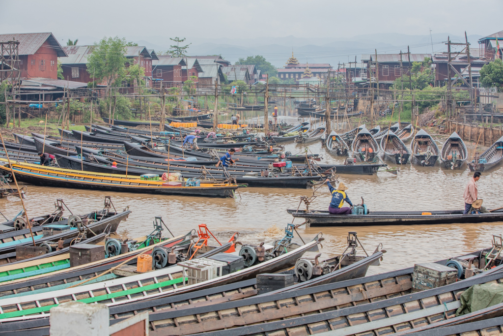 Numerous boats on Inle Lake