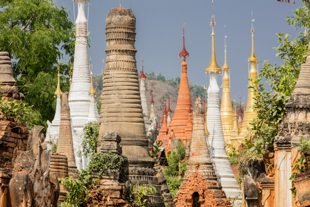 Colorful pagodas of Indein
