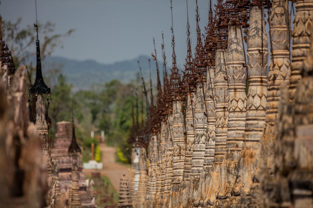 Pagodas in line in Kakku