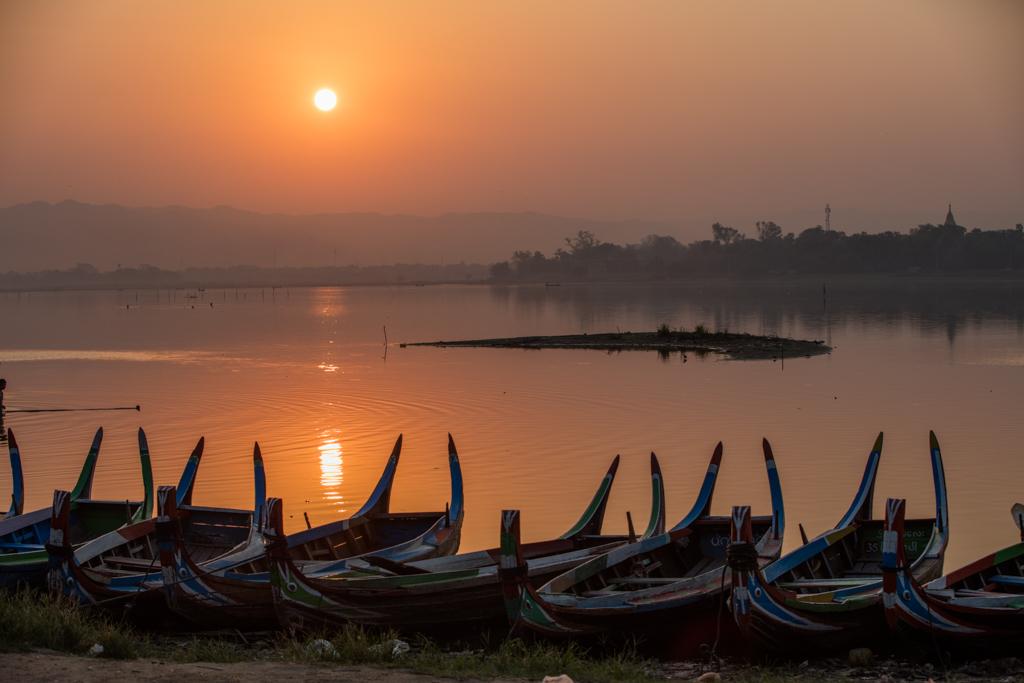 Boats at sunrise in Amarapura