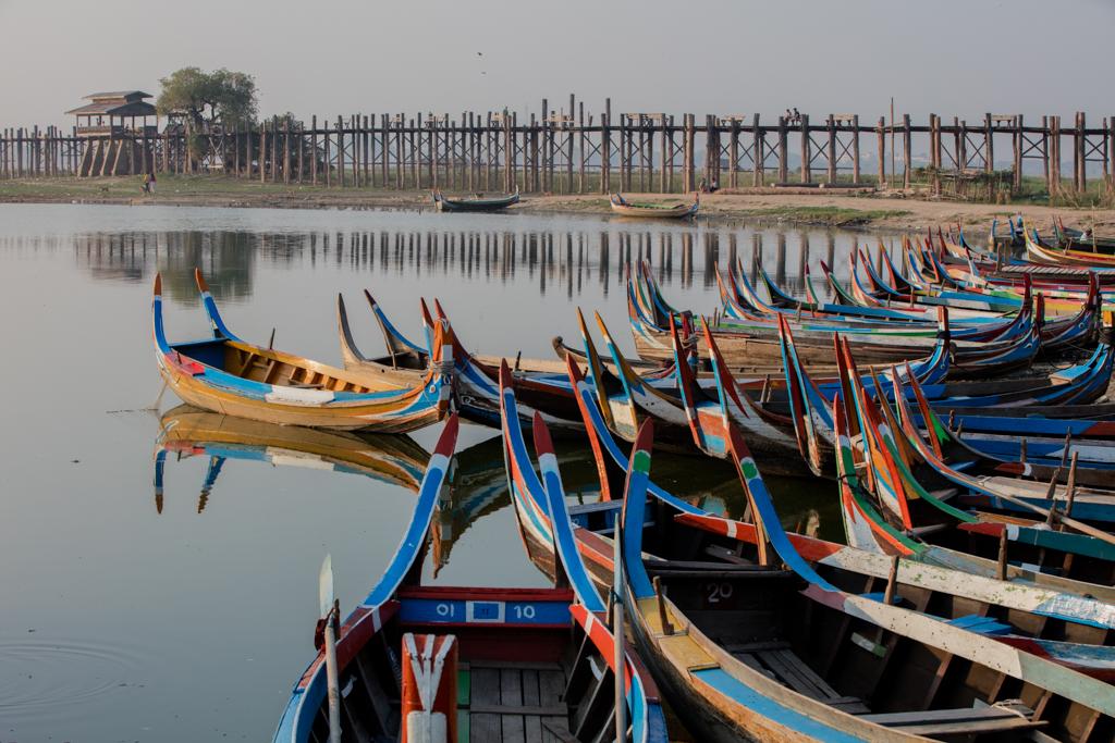 Colorful boats in Amarapura