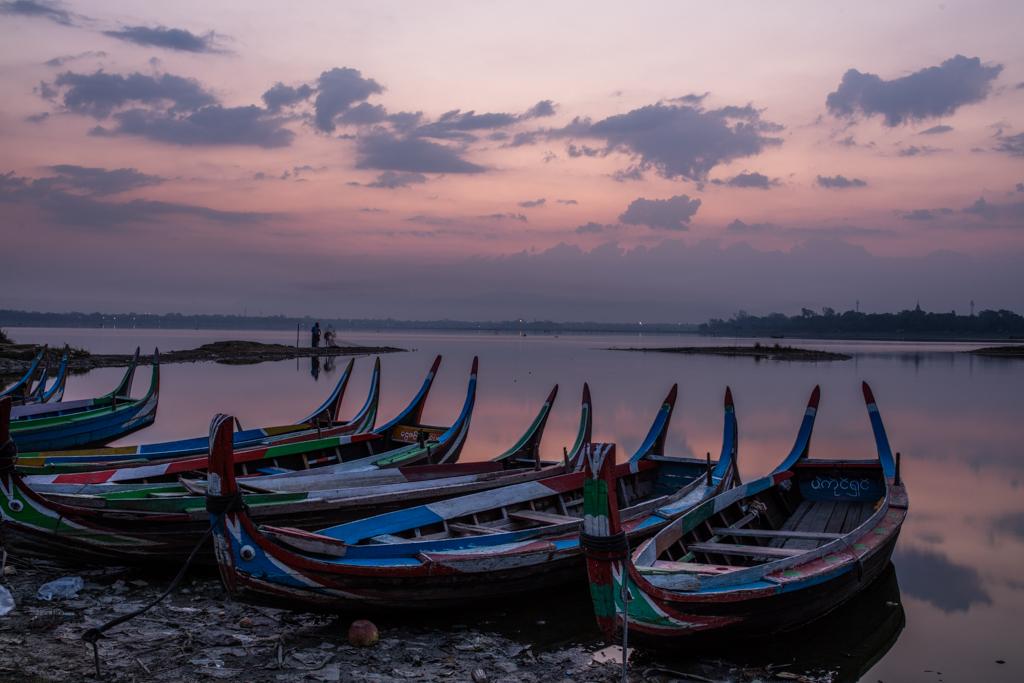 Boats before sunrise at Amarapura