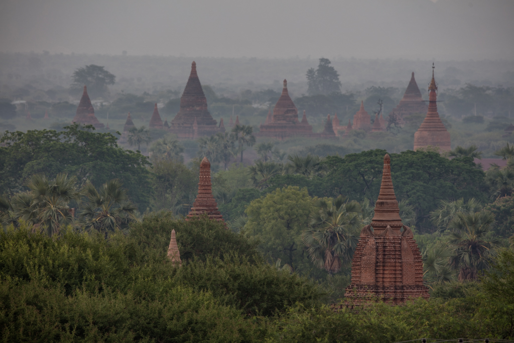 Temples and mist in Bagan